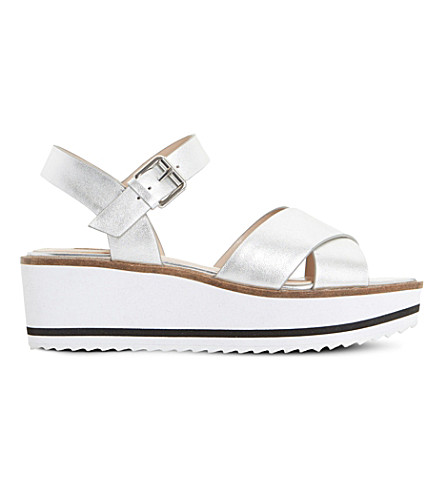 DUNE Kassius metallic-leather sandals (Silver-leather