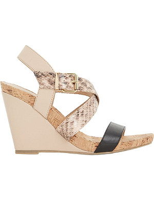 DUNE Grainne cork wedge sandals