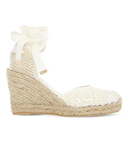 DUNE Kloss crochet espadrille wedge sandals (White-fabric