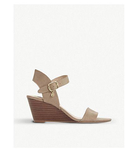 DUNE Kendo leather wedge sandals (Taupe-nubuck