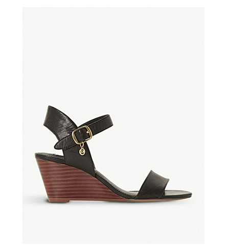 DUNE Kendo leather wedge sandals (Black-leather