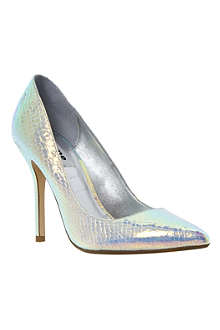 DUNE Burst metallic point toe court shoes