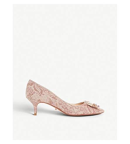 DUNE Beaumonte diamond buckle courts (Rose+gold-metallic