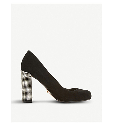 DUNE Bling embellished suede court shoes (Black-suede