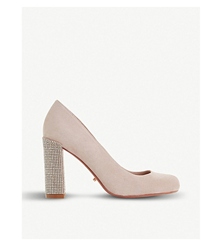DUNE Bling embellished suede court shoes (Blush-suede