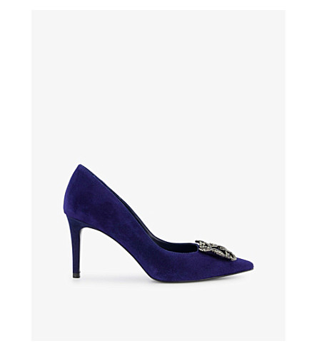 DUNE Betti suede courts (Navy-suede