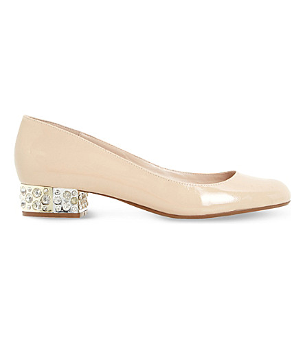 DUNE Bijouxx patent-leather courts (Nude patent