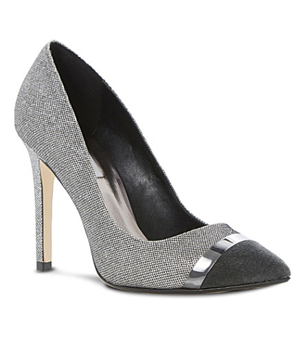 DUNE Bellini metal trim court shoes (Pewter-fabric