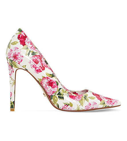 DUNE Bloom peony print court heels (White-patent