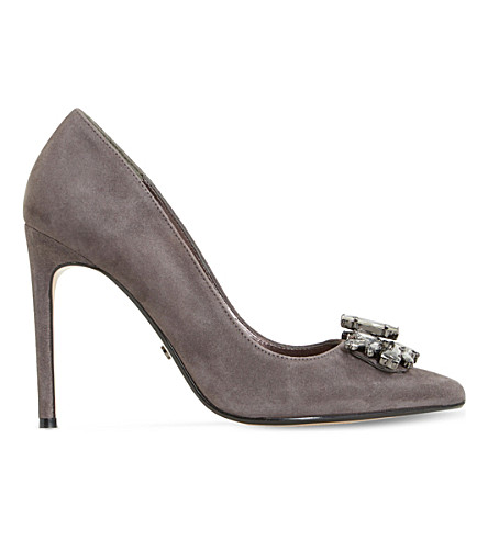 DUNE Bardot embellished suede courts (Grey-suede