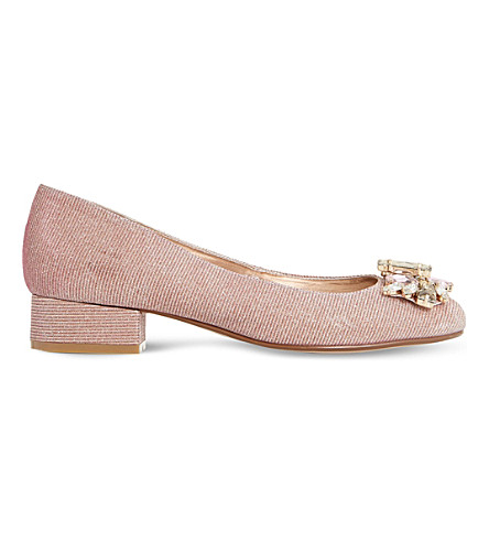 DUNE Baya metallic heeled courts (Rose+gold-fabric
