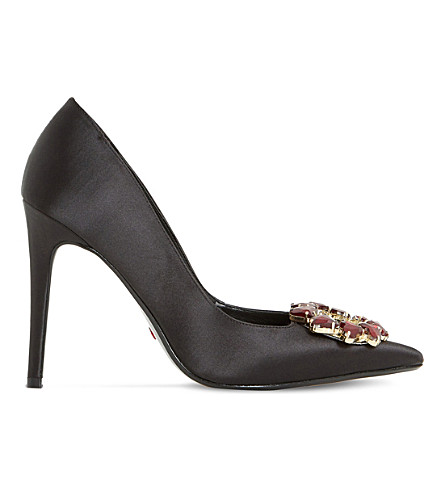 DUNE Bettine heart-brooch heeled courts (Black-satin
