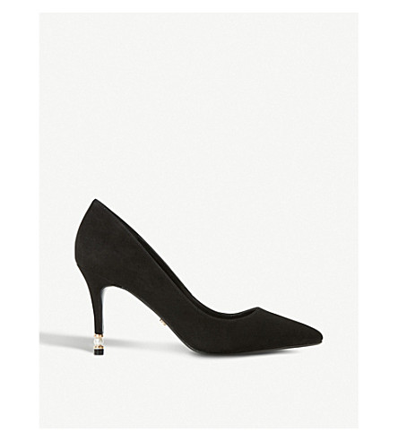 DUNE Brioney suede and pearl heeled courts (Black-suede
