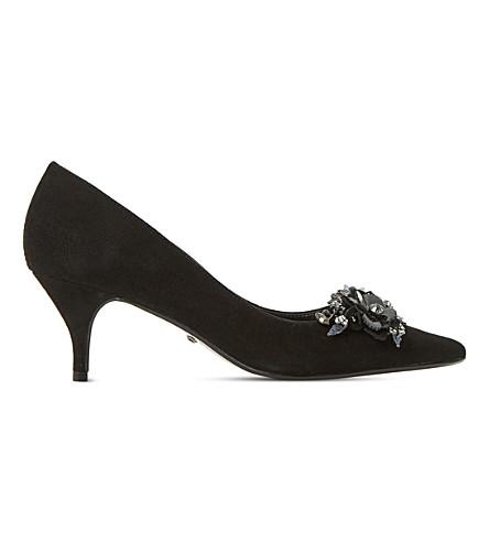 DUNE Botanic floral-sequin trim kitten heels (Black-suede