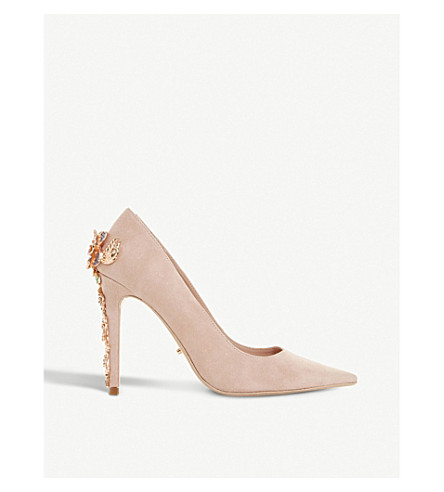 DUNE Boston Ivy embellished pointed-toe suede courts (Blush-suede