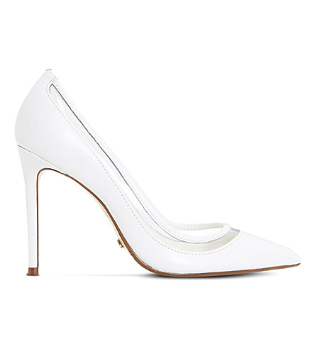 DUNE Bunnie mesh and suede court shoes (White-leather