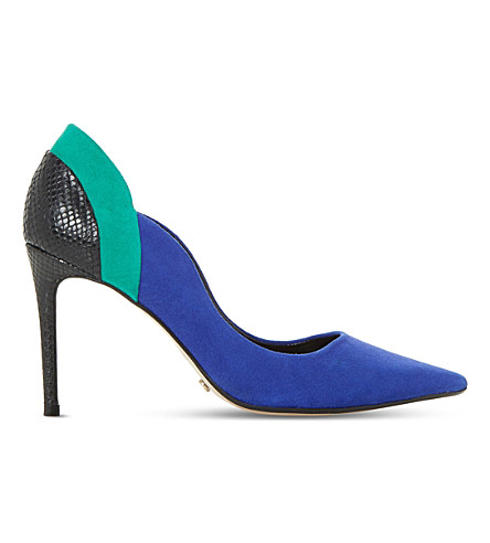DUNE Bayly suede stiletto courts (Blue-suede