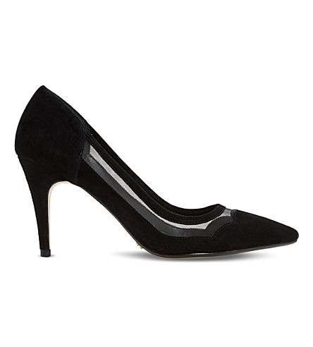 DUNE Bunnie scalloped suede courts (Black-suede