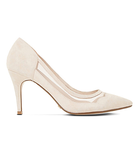DUNE Bunnie mesh and suede court shoes (Nude-suede