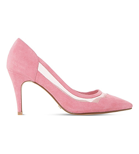 DUNE Bunnie mesh and suede court shoes (Pink-suede