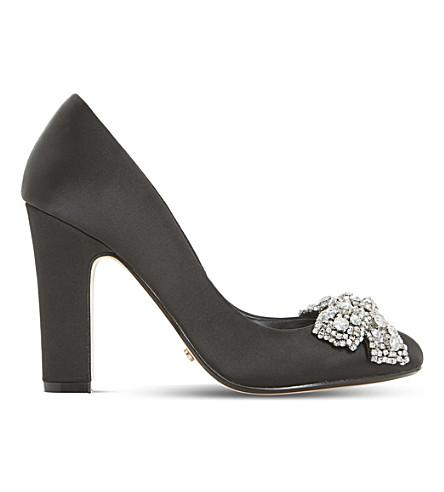 DUNE Bambi - diamante bow trim court shoe (Black-satin
