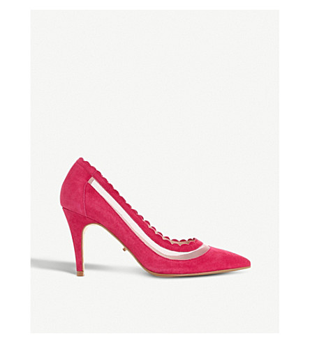 DUNE Britania pointed-toe suede courts (Pink-suede