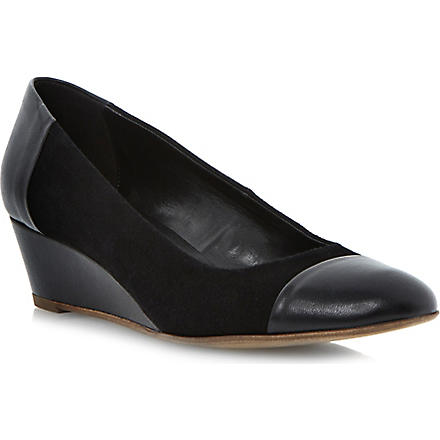 DUNE Alaine wedge court shoes (Black-suede