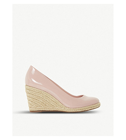 DUNE Annabela patent leather espadrille wedges (Blush-patent+synthetic