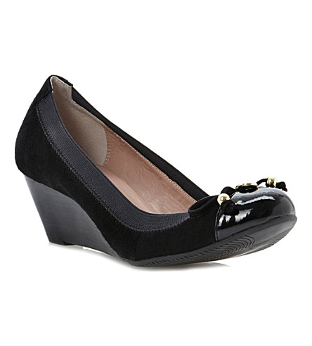 DUNE Attic suede wedges (Black-suede