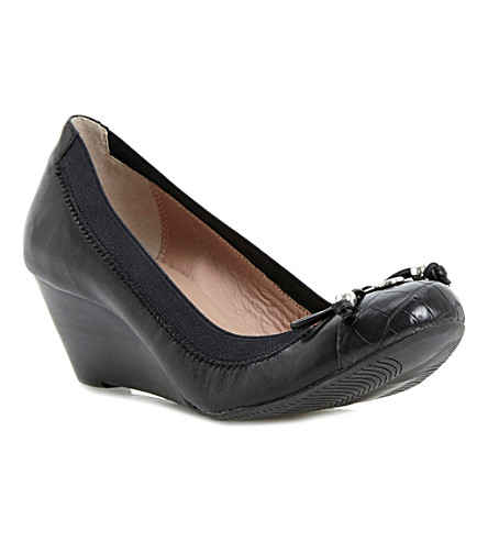 DUNE Attic leather wedges (Black-leather