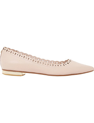 DUNE Alexis scalloped pointed-toe leather flats