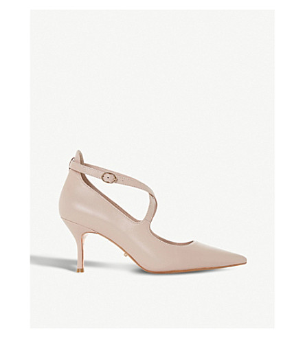 DUNE Adline pointed leather court shoes (Blush-leather