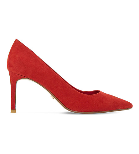 DUNE Abbigail suede court shoes (Red-suede