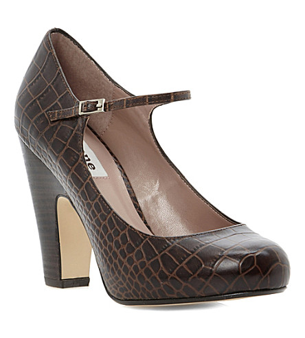 DUNE Alchemy reptile Mary-Jane shoes (Dark tan-leather