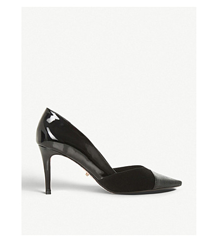 DUNE Aveeva metallic tip suede courts (Black-leather+mix