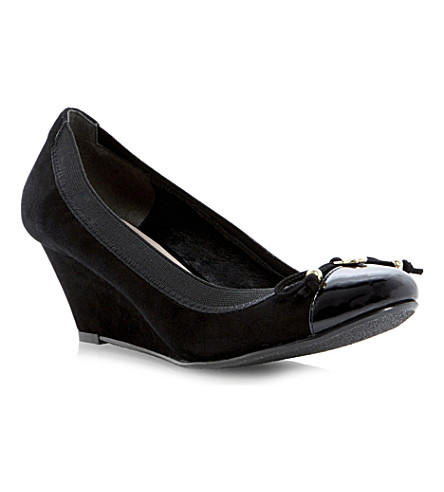DUNE Atara suede wedge courts (Black-suede