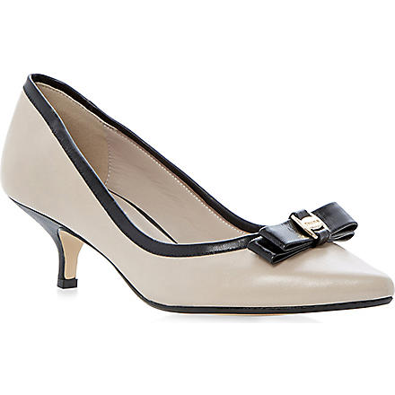 DUNE Alfa bow-detailed kitten-heel courts (Nude-leather