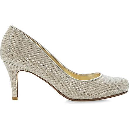 DUNE Amelia heeled court shoes (Gold-fabric