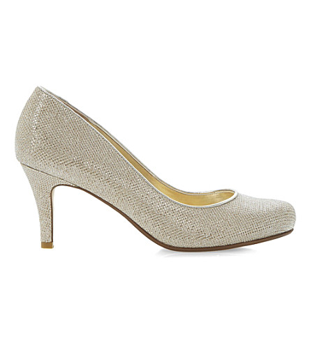 DUNE Amelia heeled court shoes (Gold-fabric