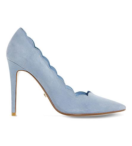 DUNE Athena scallop-trim suede court shoes (Blue-suede