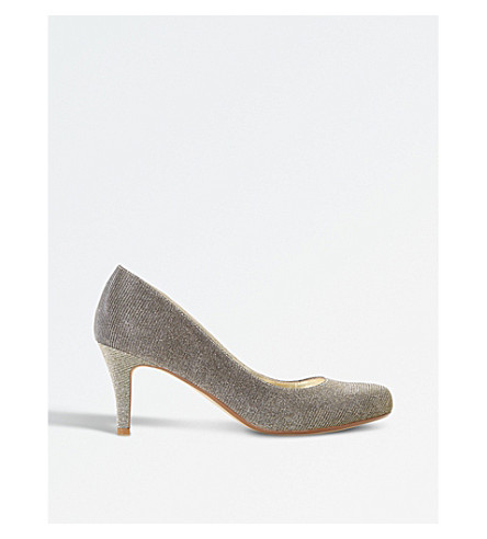 DUNE Amelia court shoes (Gold-fabric