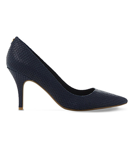 DUNE Aeryn mid-heel flex sole court shoes (Navy-reptile
