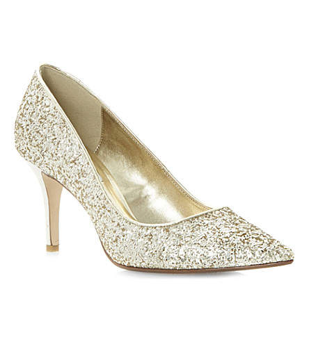 DUNE Alina mid-heel court shoes (Gold glitter