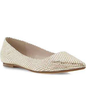 DUNE Amarie reptile-print pointed-toe flats
