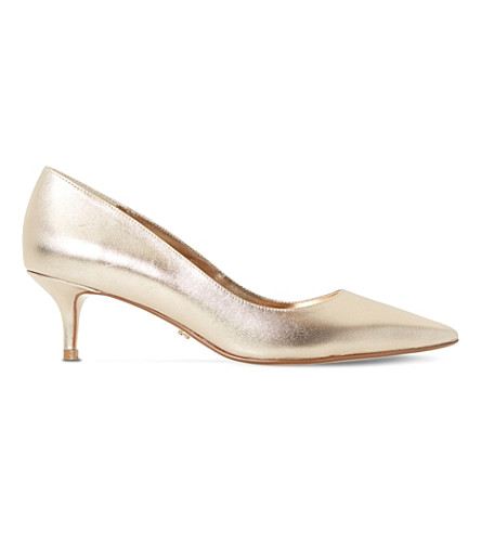 DUNE Alesandra metallic-leather courts (Champagne-metallic