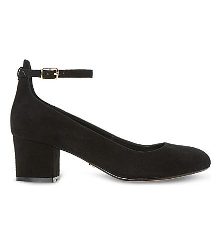 DUNE Allie suede block heel courts (Black-suede