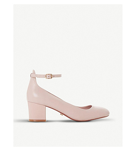 DUNE Allie suede block heel courts (Blush-leather