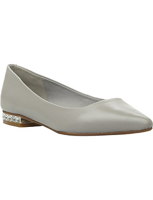 DUNE Abbie jewelled heel pointed toe flats