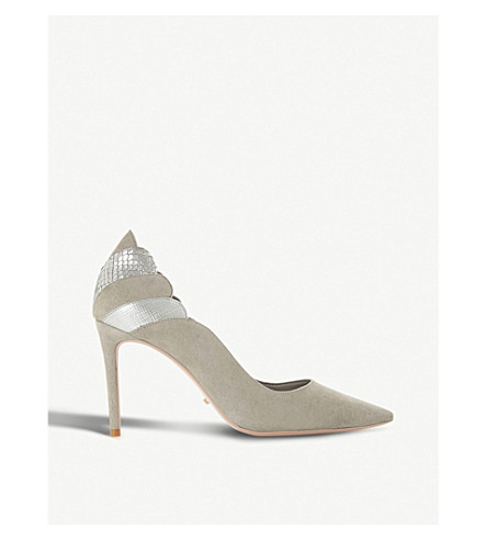 DUNE Aerielle scalloped suede courts (Grey