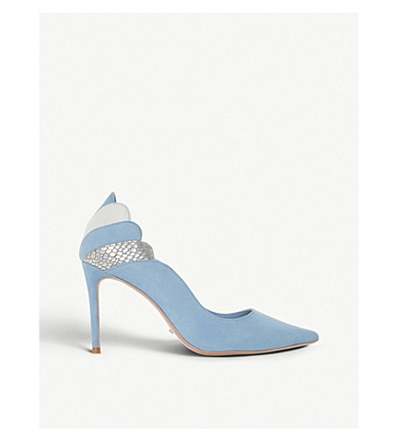 DUNE Aerielle scalloped suede courts (Blue-suede